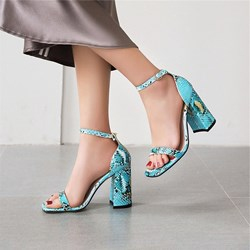 Shoespie Trendy Serpentine Line-Style Buckle Chunky Heel Casual Sandals