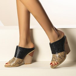 Shoespie Sexy Slip-On Chunky Heel Alligator Pattern Western Sandals