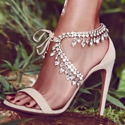 Shoespie Sexy Rhinestone Open Toe Lace-Up Stiletto Heel Wedding Sandals
