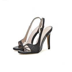 Shoespie Trendy Sequin Open Toe Stiletto Heel Slip-On PVC Sandals