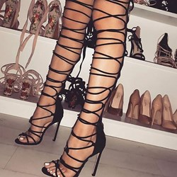 Shoespie Stylish Lace-Up Open Toe Stiletto Heel Plain Sandals