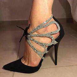 Shoespie Sexy Sequin Pointed Toe Stiletto Heel Lace-Up Sandals