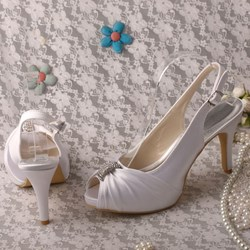 Shoespie Stylish Stiletto Heel Rhinestone Slip-On Peep Toe Wedding Shoes