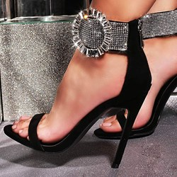 Shoespie Sexy Rhinestone Heel Covering Stiletto Heel Zipper Plain Sandals