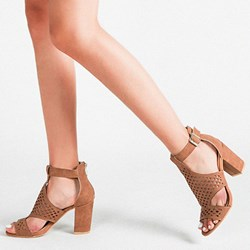 Shoespie Trendy Zipper Chunky Heel Peep Toe Plain Sandals