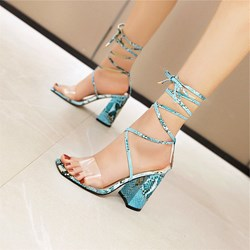 Shoespie Trendy Cross Strap Serpentine Ankle Strap Lace-Up Chunky Heel Sandals