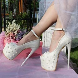 Shoespie Trendy Peep Toe Line-Style Buckle Platform Wedding Shoes