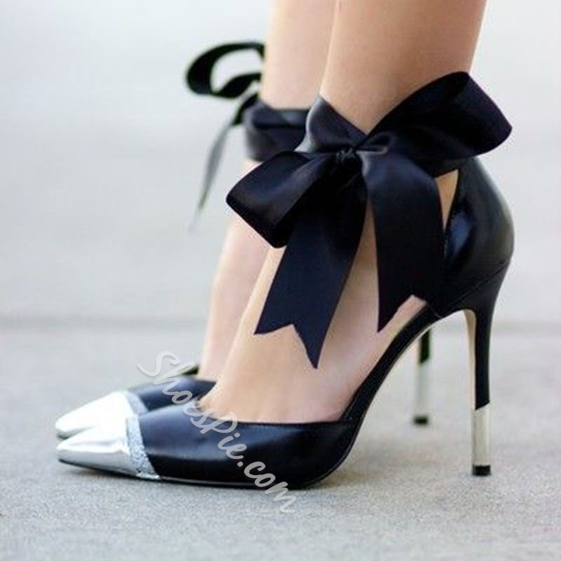 Shoespie Stylish Bow Heel Covering Lace-Up Stiletto Heel Thread Stiletto Heels